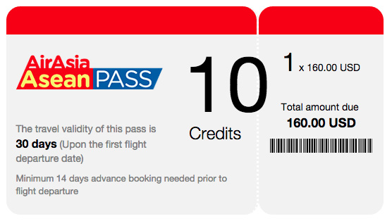 10 credit air asia asean pass